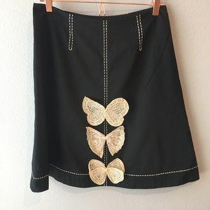 Odille Old School Anthro Crochet Lace Butterfly